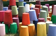 Classic Vintage Item To Decorate Your Space : Colorful Buckets At The Brimfield Antique Show
