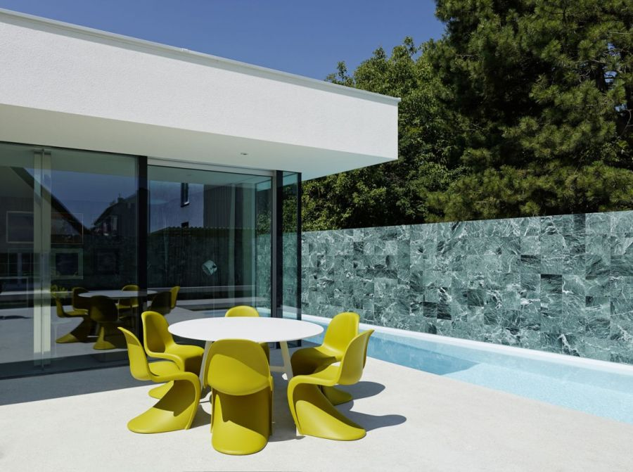 Contemporary Home Design: The A&B House In Austria : Colorful Chairs On The Deck