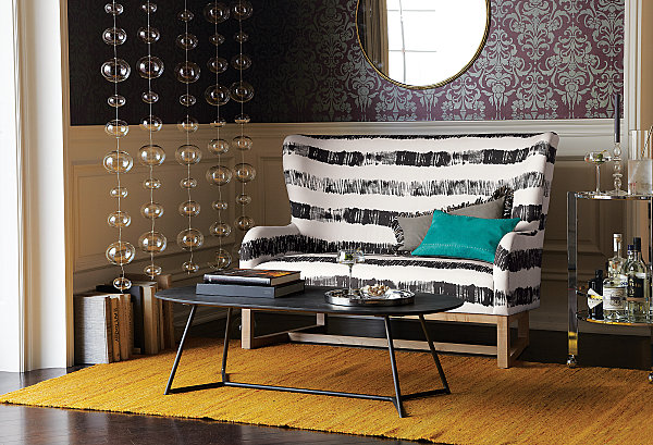 Chic Eclectic Look With Elegant Nuance: Colorful Eclectic Living Space Interior With White And Black Stripes Sofa Design