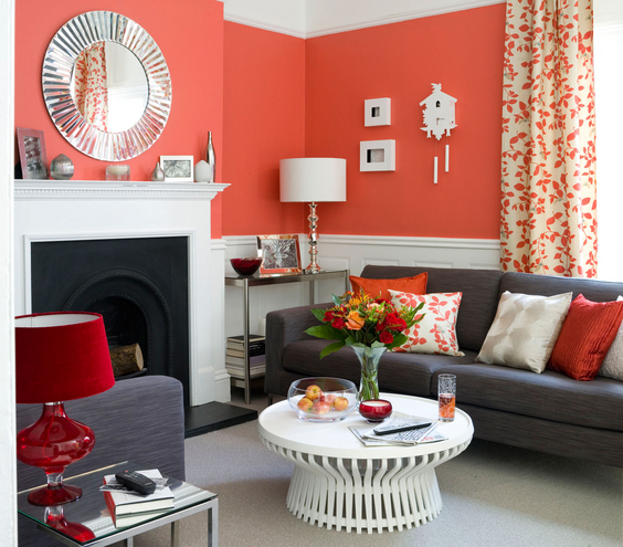 The Best Interior Designs For Living Rooms: Colorful Interior Designs For Living Rooms With Glass Coffee Table Under Red Bold Table Lamp ~ stevenwardhair.com Living Room Design Inspiration