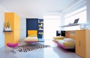 Efficient Small Space Bed For Space Savings : Colorful Kids Bedroom With Twin Murphy Beds Did You Get It Right