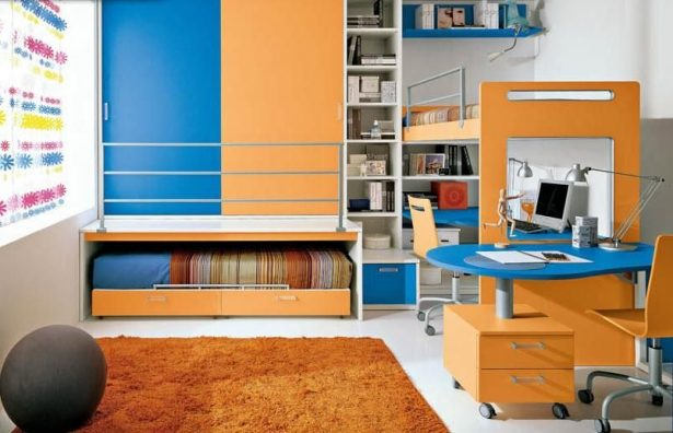Colorful Loft Beds With Desk As An Enhancing Part Of A Small Room: Colorful Kids Loft Bed With Desk ~ stevenwardhair.com Bedroom Design Inspiration