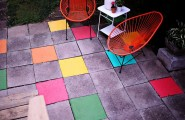 Creative Space Design Modifying Outdoor And Indoor Well : Colorful Painted Patio Tiles With Outdoor Wire Chairs And Whte Sideboard
