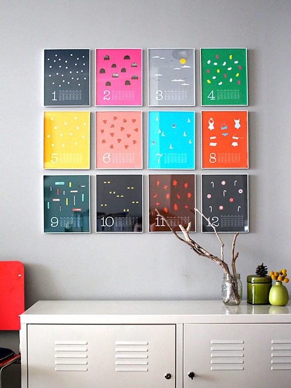 Artistic Wall Art Decoration With The Stylish Design : Colorful Wall Calendar As Wall Art