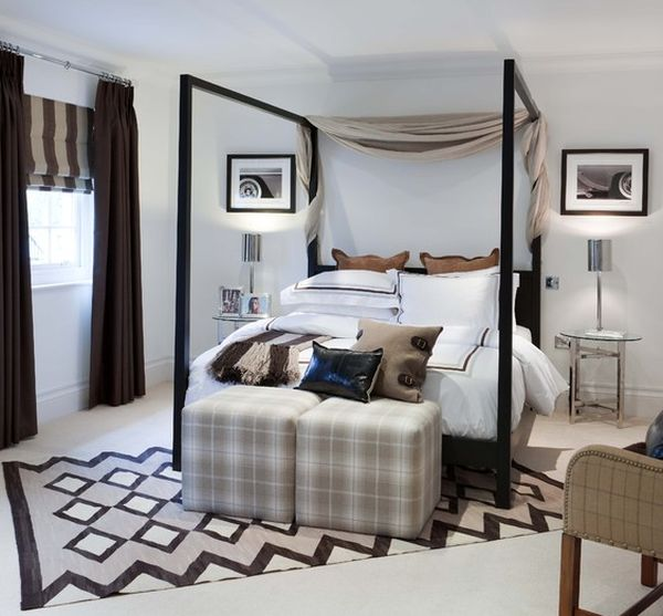 Exclusive Stylish Hotel Interior Simple And Luxurious Design: Comfortable Four Poster Bed Brings In The Hotel Vibe With Contemporary Flair