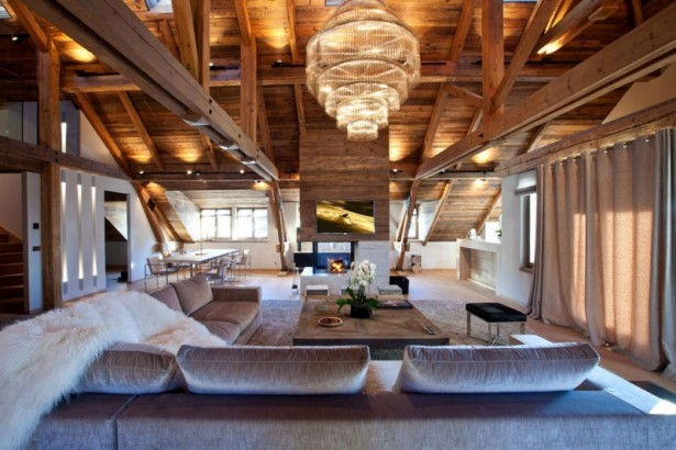 Modern Rustic Apartment With Visible Wooden Support: Comfortable Iced Winter House Family Room Furnished With Light Brown Velvet Sofas Black Stools And Wooden Table ~ stevenwardhair.com Apartments Inspiration
