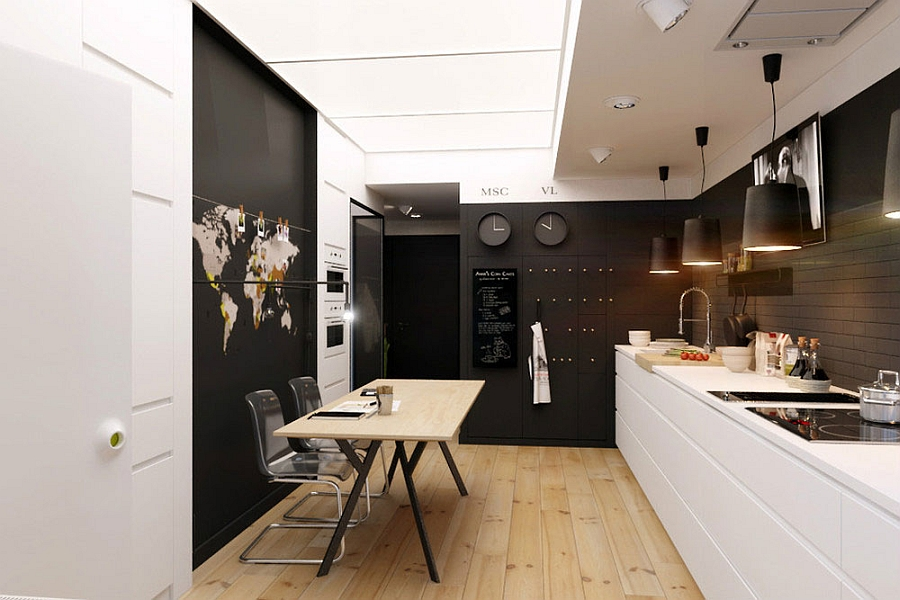 Compact Small Apartment In Black And White Decoration : Comfortable Kitchen And Dining Area In Black And White Interior Furniture Design Ideas