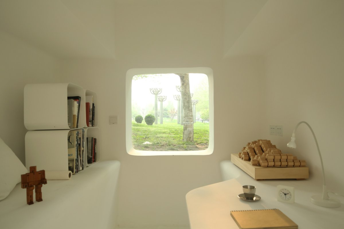 Beautiful Micro House For Small And Functional Residential Place : Comfy Study Space With Modern Box Storage Theme