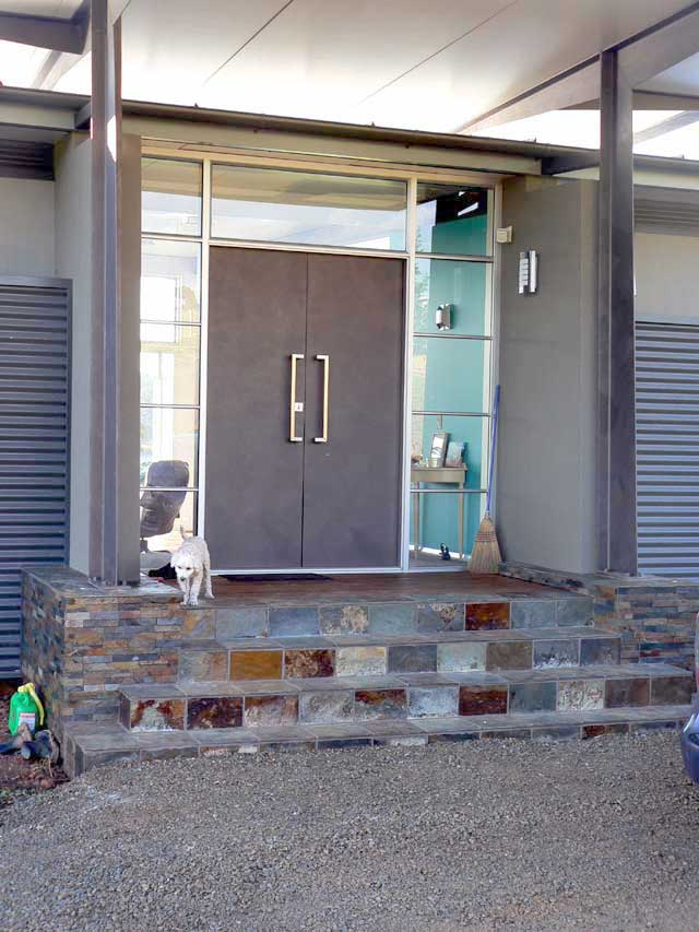 Inspiring Double Entry Doors For Home With Clear Design: Completed House With Modern Double Entry Door