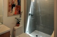 Glass Shower Door For Bigger Impression : Contemporary Bath With Glass Shower Doors And Warm Hues1
