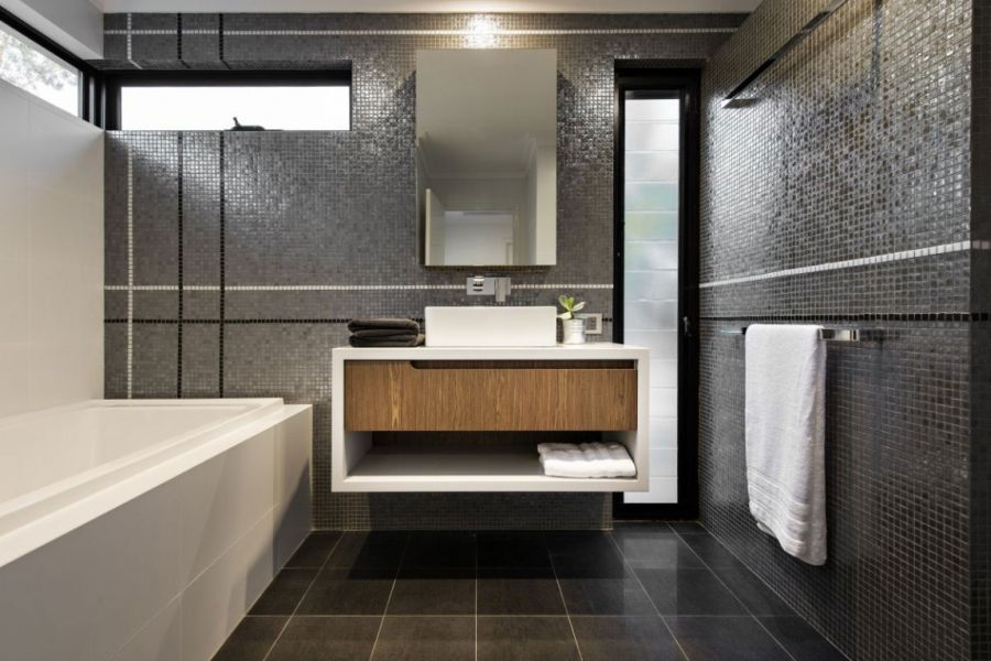 Amazing Minimalist Residence With A Sizzling Courtyard : Contemporary Bathroom With Floating Vanity Furniture With Grey Interior Design Ideas