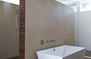 Awesome Modern House Design With Elegant Aesthetic Interior And Exterior : Contemporary Bathroom With Wooden Flooring White Geometric Bath Tub