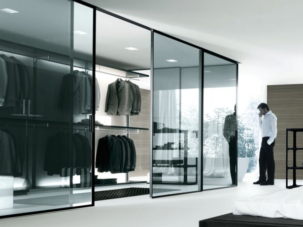 Stunning Walk In Closet Black Designed In Contemporary Flair: Contemporary Bedroom Design Glass Door Walk In Closet Black ~ stevenwardhair.com Closets Inspiration