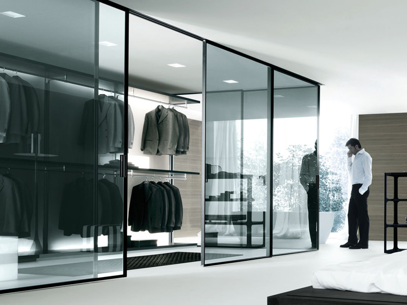 Stunning Walk In Closet Black Designed In Contemporary Flair: Contemporary Bedroom Design Glass Door Walk In Closet Black