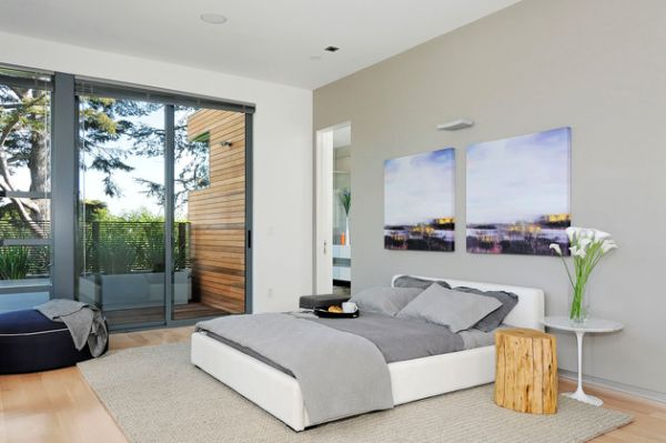 Stylish Sliding Glass Door Designs: 40 Modern Images : Contemporary Bedroom In Neutral Tones Sports Sliding Glass Doors