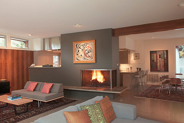 Contemporary Corner Fireplace