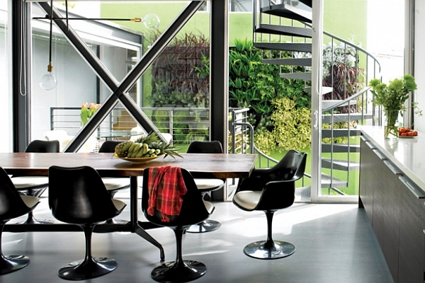 Fascinating Dining Room Decoration Offers Comfort Taste: Contemporary Dining Room With Black Chairs