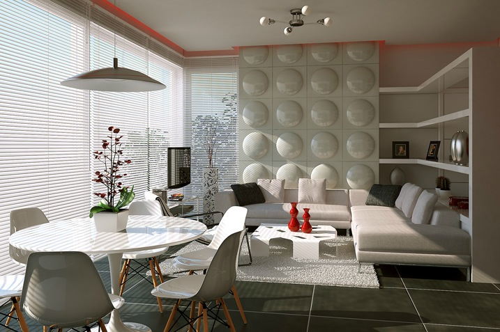 Wonderful Living And Dining Space In One: Contemporary Feature Wall Treatment