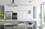 Modern Contemporary Home Renovation With Minterior Furniture : Contemporary Kitchen With Ergonomic Furnishings With White Grey Interior Design Ideas