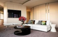 Glamorous Living Room Design With Elegant Look : Contemporary Living Room With White Leather Couch And Black Coffee Table