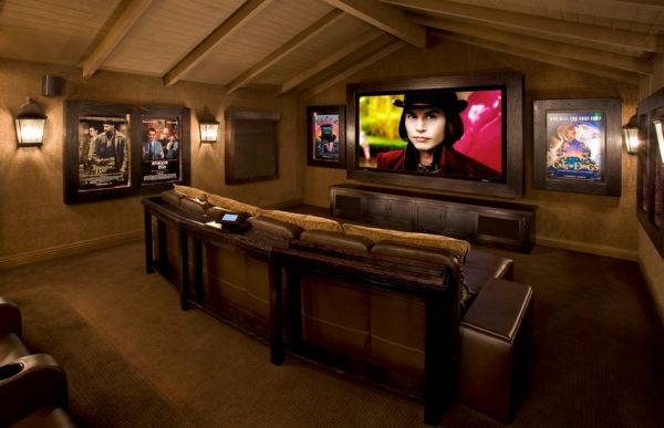 Simple Modern Design Inspiration For Your Home : Contemporary Media Room Is A Perfect Place To Showcase Your Poster Collection