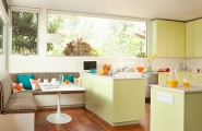 Amazing Kitchen Designs For Extra Special Touches : Contemporary Open Kitchen Decoration With Pistachio Green Cabinets