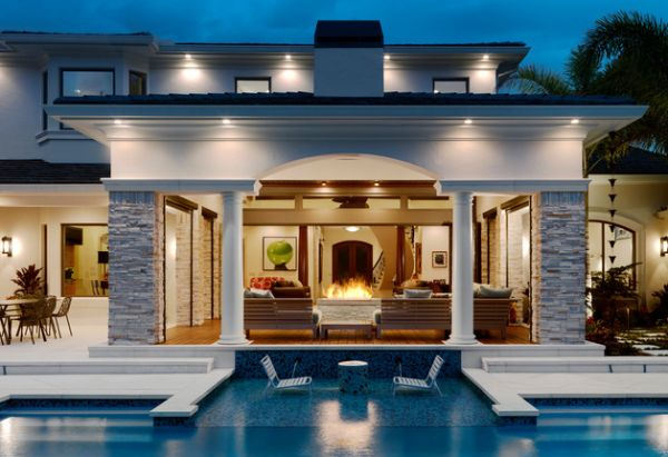 Stunning Outdoor Fireplace Design In Various Styles : Contemporary Patio And Shallow Pool Steal The Show Here
