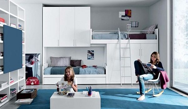 Fantastic Teen Rooms Designs Teenagers Will Love : Contemporary Teenage Room Blue And White Furniture