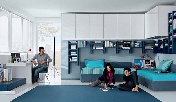 Fantastic Teen Rooms Designs Teenagers Will Love : Contemporary Teens Room  Aqua White And Blue