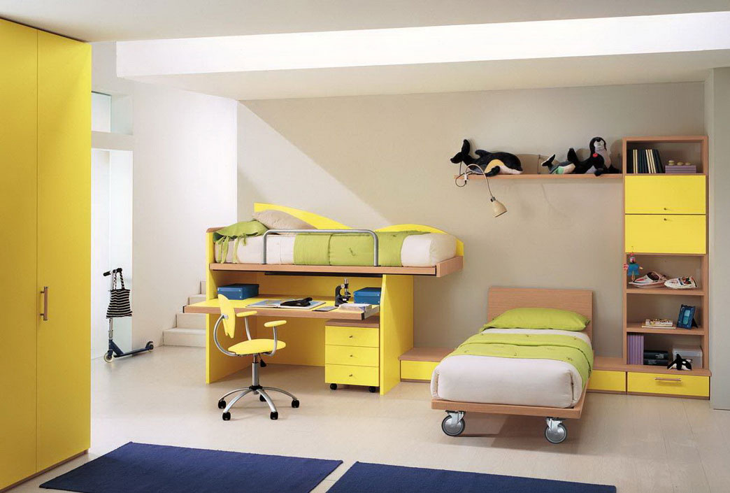 Fabulous Color Of Cool Teenage Bedroom Furniture: Contemporary Yellow Cool Teenage Bedroom Furniture Kids Learning Desk