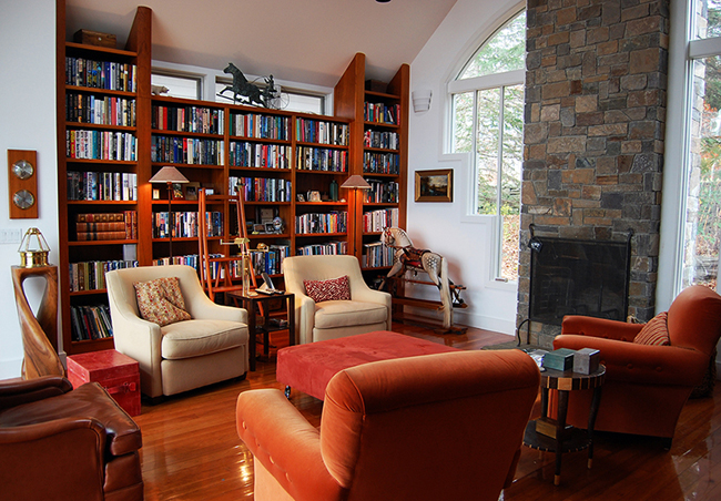 Contemporary Home Library Furniture With Neat Arrangement : Conventional Custom Home Library Design