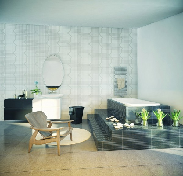 Fascinating Interior Design With Blends Of Monochrome Colors And Natural Elements: Cool Bathroom Design Oval Mirror Enduring Inspiration From Vic Nguyen