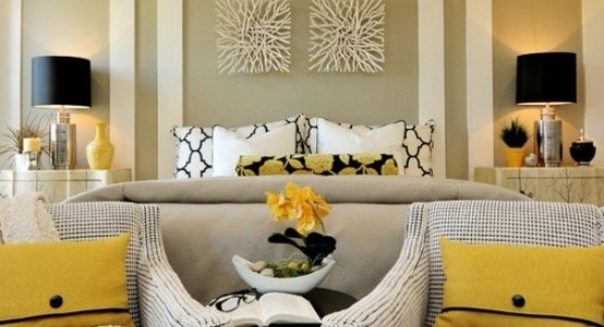 Modern Yellow Bedroom For Unique Resting Experience : Cool Bedroom With Yellow Flowers On The Black Cushion Theme