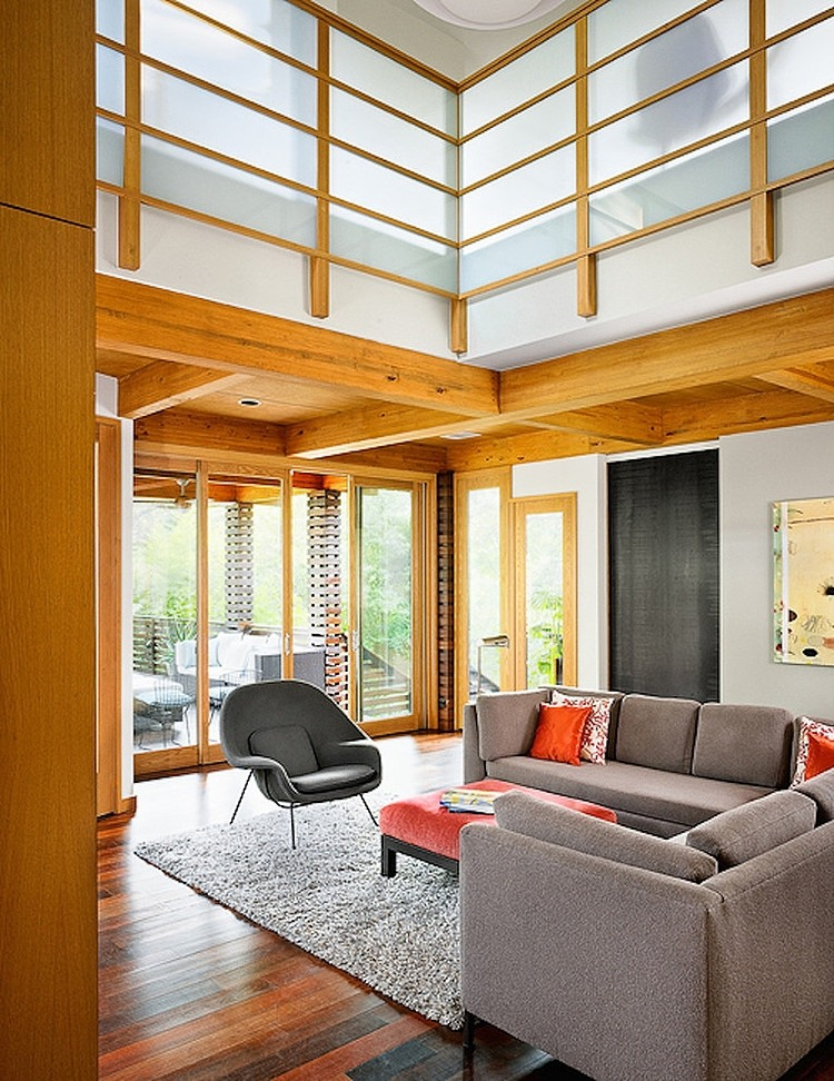 Adorable Asian Architectural Residence So Traditional With Wood Accent: Cool Double Height Ceiliing Of Tarrytown Residence By Webber Studio Architects