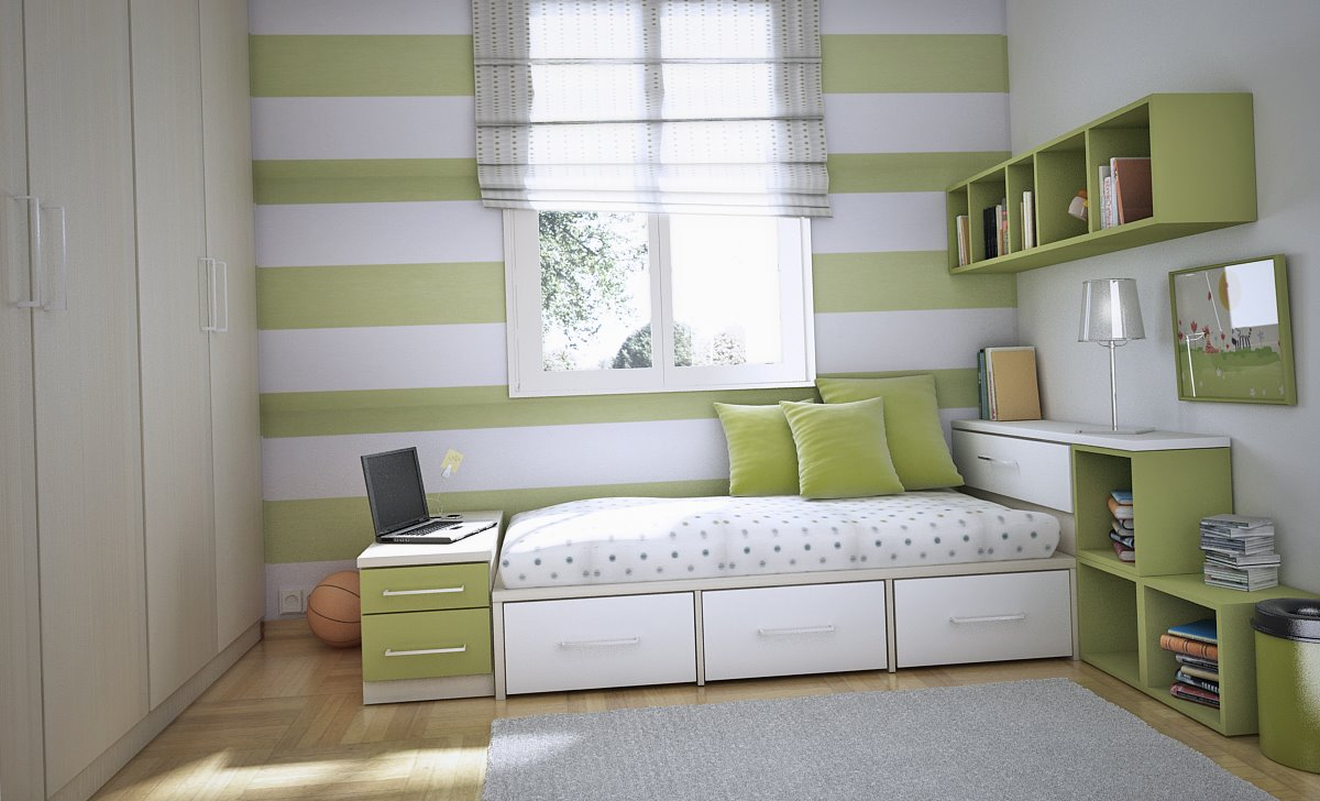 Inspirational Cool Room Designs For Guys With Directed Theme: Cool Greeen And White Teen Room Ideas