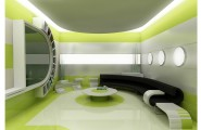Futuristic Cool Interior Design With Wonderful Lightings : Cool Interior Design Curve Bench Round Coffee Table Green Wallpaper