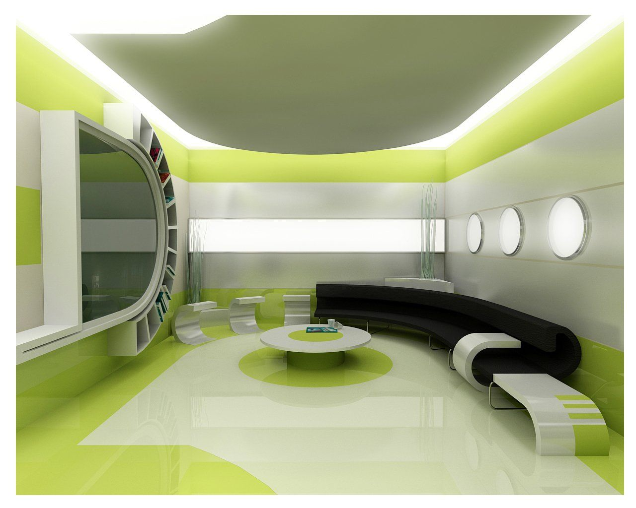 Futuristic Cool Interior Design With Wonderful Lightings: Cool Interior Design Curve Bench Round Coffee Table Green Wallpaper