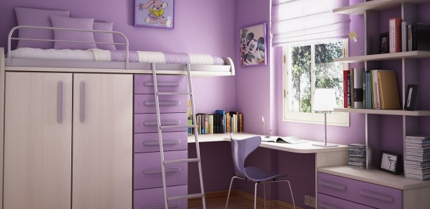 House And Interior Design: The Inspiration : Cool Purple Teens Room Design With Cartoon Character
