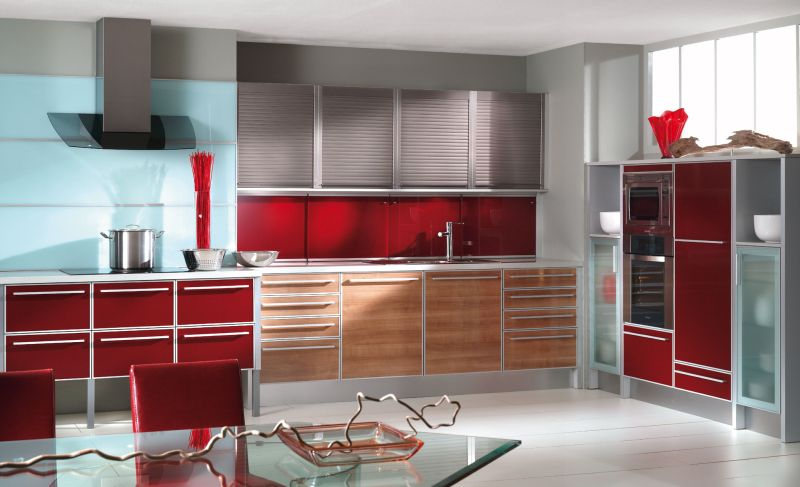 Small Modern Kitchen Design To Show Up The Charming Style: Cool Red Modern Kitchen Design Glass Top Kitchen Table