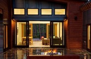 Stylish Sliding Glass Door Designs: 40 Modern Images : Cool Sliding Doors Between Living Space And Patio With Modern Fireplace