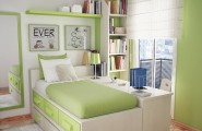 Great Bedroom Layout For Everyone : Cool Teen Bedroom Ideas With Green Color