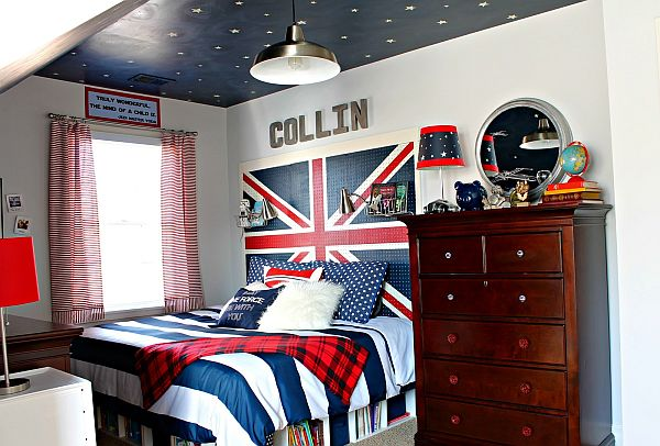 Teenage Bedroom Ideas Of Boys And Girls: Cool Union Jack Teenage Bedroom Ideas With Sky Painted Ceiling