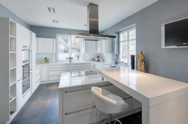 House And Interior Design: The Inspiration: Cool White Modern Kitchen Design With Grey Wall ~ stevenwardhair.com Interior Design Inspiration