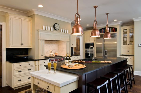 Doing Up Your Kitchen With Astounding Hanging Pendant Lights: 55 Inspiring Images : Copper Pendant Lights Above The Kitchen Island For A Touch Of Steampunk