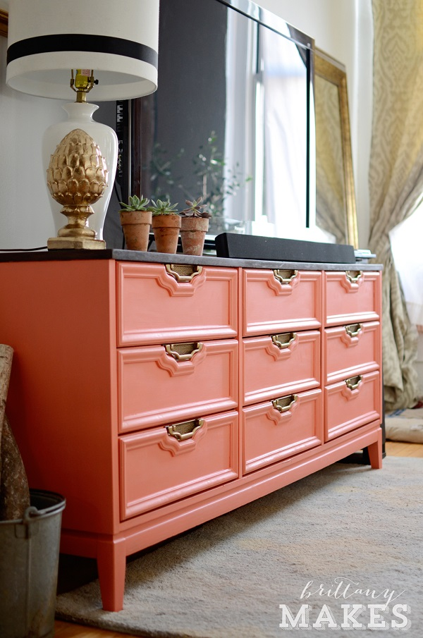 Colorful Bedroom Dressers With Bright Color Concept: Coral Dresser With Gold Pulls Fancy White Ceramic Table Lamp1