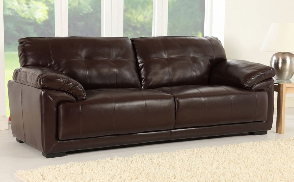 Brown Sofas Filling A Modern Style Living Room: Cordoba Brown Leather Sofas
