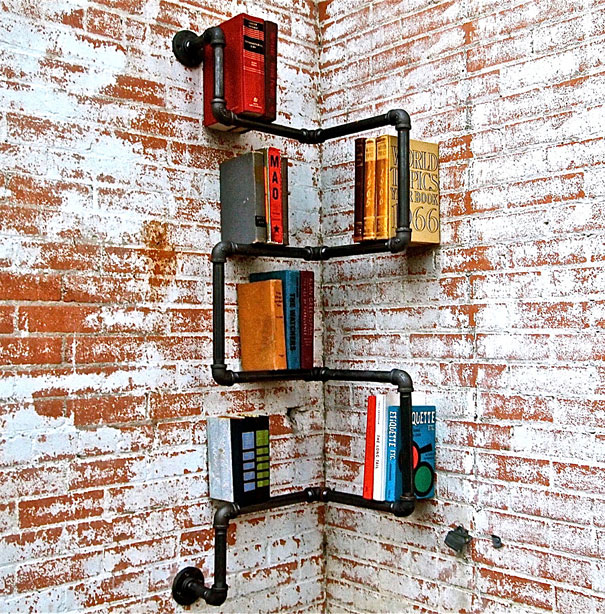 Bookshelf Design For Modern Interior Design : Corner Pipe Shelf Simple Design Black Pipe Brick Wall