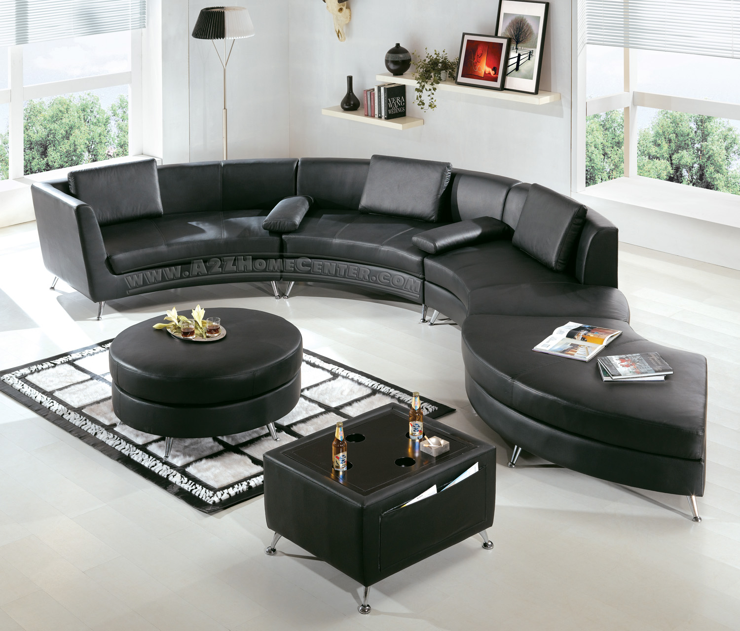 ... Beautiful And Affordable Modern Furniture For Your House : Cozy Affordable  Modern Furniture Black Color Sectional