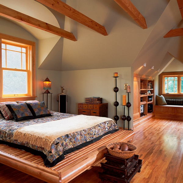 Pleasant Snow Cabin That Gives Warmth In The Midst Of Cold Winter: Cozy Attic Bedroom Idea With A Window Seat And Beams Ceiling