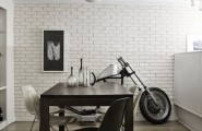 Mesmerizing Motorcycle Display For Gorgeous Decoration Concept : Cozy Black Wooden Table And Chairs At Dream Motorcycle Garage